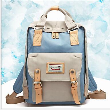 Μεγάλη χωρητικότητα Καμβάς Φερμουάρ Σχολική τσάντα Συνδυασμός Χρωμάτων Καθημερινά Γκρίζο / Κίτρινο / Κρασί