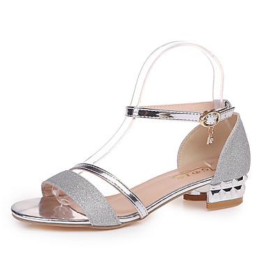 levne Dámské sandály-Dámské Sandály Nízký podpatek S otevřeným palcem Flitry PU Klasické Chůze Léto Zlatá / Stříbrná
