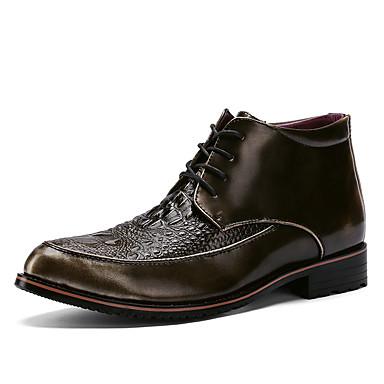 Homens Fashion Boots Couro Ecológico Primavera / Outono Casual / Formais Botas Caminhada Botas Curtas / Ankle Preto / Vinho / Dourado / Ao ar livre / Coturnos
