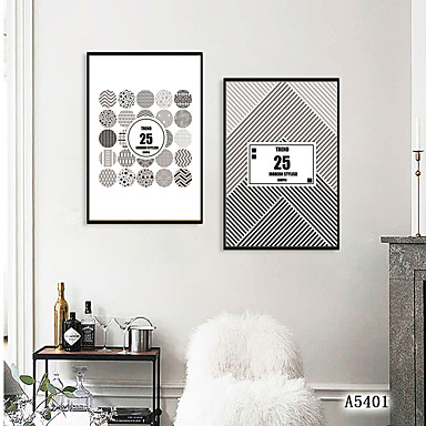 Innrammet Kunstrykk Innrammet Sett - Abstrakt Polystyrene Tegning Veggkunst