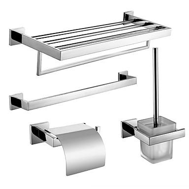 Tilbehørssett til badeværelset / Hylle til badeværelset / Toalettbørsteholder Nytt Design / Kreativ Moderne / Tradisjonell Rustfritt Stål + A-klasse ABS / Rustfritt Stål / Metall 4stk - Baderom