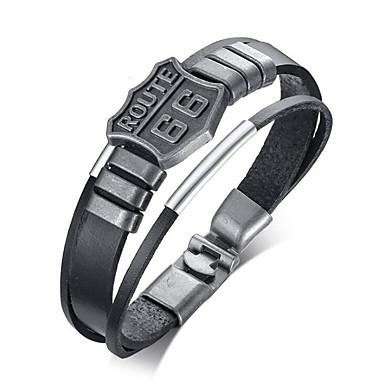 levne Pánské šperky-Pánské Kožené náramky Klasika Naděje stylové Slitina Náramek šperky Černá Pro Denní Dovolená