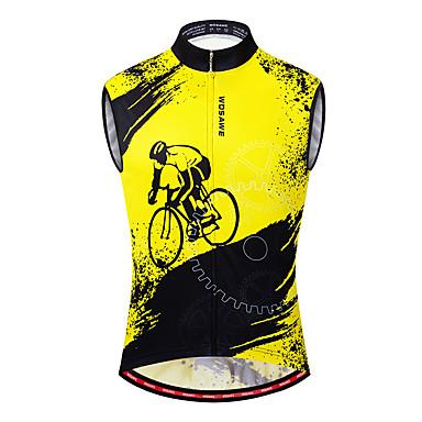 WOSAWE Ανδρικά Αμάνικο Φανέλα ποδηλασίας Γιλέκο ποδηλασίας Μαύρο / Κίτρινο Ποδήλατο Γιλέκο Αθλητική μπλούζα Ποδηλασία Βουνού Ποδηλασία Δρόμου Αναπνέει Ύγρανση Γρήγορο Στέγνωμα Αθλητισμός Polyster