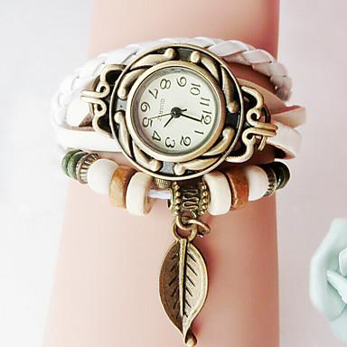 levne Dámské-ženy dívky módní retro ruční kožený náramek list dekorace křemen náramkové hodinky