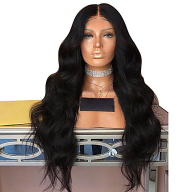 Συνθετικές Περούκες Κυματομορφή Σώματος Κούρεμα με φιλάρισμα Περούκα πολύ μακριά Μαύρο Συνθετικά μαλλιά 62~66 inch Γυναικεία Νέα άφιξη Μαύρο