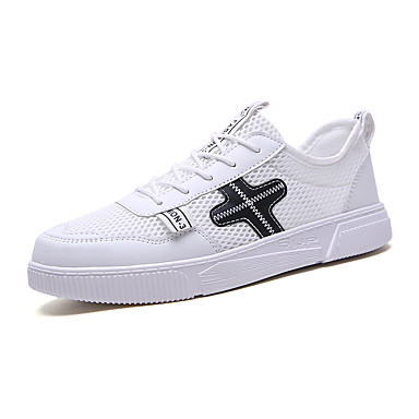 Ανδρικά Παπούτσια άνεσης Δίχτυ Καλοκαίρι Καθημερινό Αθλητικά Παπούτσια Περπάτημα Αναπνέει Μαύρο και Άσπρο / Άσπρο / Μπλε / Λευκό / Αθλητικό