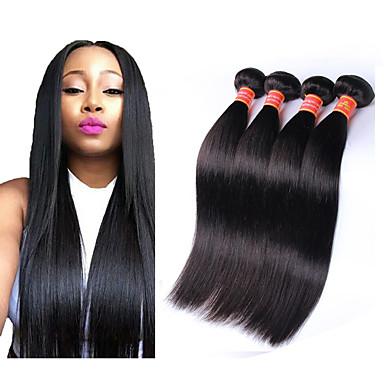 4 pacotes Cabelo Brasileiro Liso Cabelo Virgem 100% Remy Hair Weave Bundles Peça para Cabeça Cabelo Humano Ondulado Extensor 8-28 polegada Côr Natural Tramas de cabelo humano Sem Cheiros Sedoso