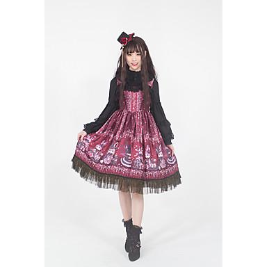 Gothic Style Vintage Gothic Lolita Kjoler Party-kostyme Maskerade Festkjole Dame Japansk Cosplay-kostymer Rød Blomstermønster Blonder Kanin Ermeløs Ermeløs Midi