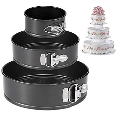 cheap Bakeware-3pcs Stainless Steel Special Material DIY For Bread Multifunction Cake Round Cake Pan Cake Molds Bakeware tools
