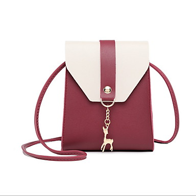 Γυναικεία Καρφιά PU Σταυρωτή τσάντα Μαύρο / Ανθισμένο Ροζ / Ρουμπίνι