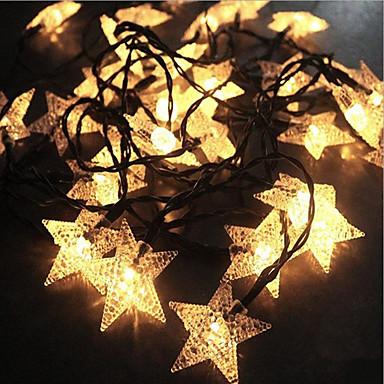 7m φανάρια πενταγράμμου χορδές 50 leds ζεστό λευκό Χριστούγεννα νέο έτος κόμμα διακοσμητικά ηλιακή powered 1 σετ