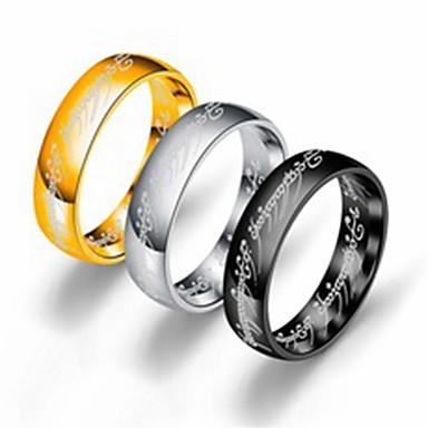 Herre Dame Band Ring Ring Tail Ring 1pc Gull Hvit Svart Rustfritt Stål Titanium Stål Sirkelformet Grunnleggende Mote Gave Daglig Smykker Kul