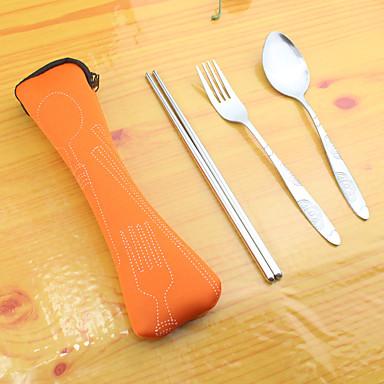 Dongguan pho_03ge επιτραπέζια σκεύη από ανοξείδωτο χάλυβα τριών τεμαχίων φορητά επιτραπέζια σκεύη chopsticks πιρούνι κουτάλι μπλε
