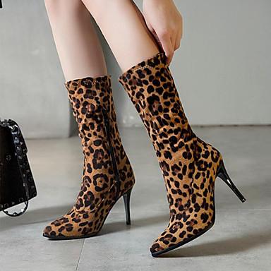Mulheres Botas Salto Agulha Dedo Apontado Camurça / Couro Ecológico Botas Cano Médio Outono & inverno Preto / Leopardo / Branco