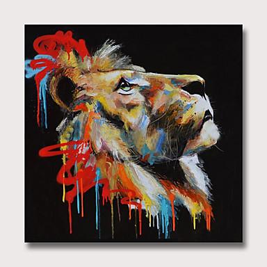 povoljno Ulja na platnu-Hang oslikana uljanim bojama Ručno oslikana - Sažetak Životinje Moderna Bez unutrašnje Frame
