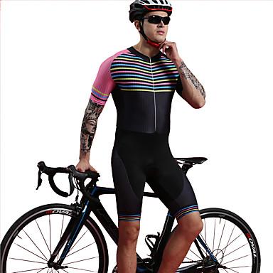 BOESTALK Ανδρικά Κοντομάνικο Ολόσωμη στολή για τρίαθλο Μαγιό Ροζ / Μαύρο Ποδήλατο Αναπνέει Ύγρανση Γρήγορο Στέγνωμα Πίσω τσέπη Αθλητισμός Spandex Οριζόντιες λωρίδες Ποδηλασία Βουνού Ποδηλασία Δρόμου