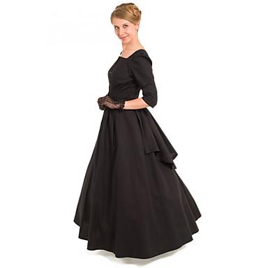 Δούκισσα Victorian Τουαλέτα 1910s Edwardian Φορέματα Κοστούμι πάρτι Γυναικεία Στολές Μαύρο Πεπαλαιωμένο Cosplay Μασκάρεμα Μισό μανίκι Μακρύ Μακρύ Μήκος Βραδινή τουαλέτα Μεγάλα Μεγέθη / Φόρεμα