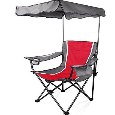 Πτυσσόμενη καρέκλα κάμπινγκ με κάτοχο ποτηριών με πλευρική τσέπη Φορητό Αντιολισθητικό Πτυσσόμενο Άνετο Ατσάλινος Σωλήνας Οξφόρδη για 1 άτομο