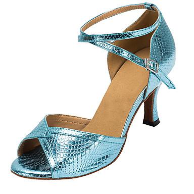 cheap New Arrivals-Women's Dance Shoes PU Latin Shoes Buckle Heel Thick Heel Customizable Blue