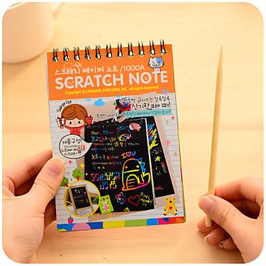 Yiwu pho_04qx kreativ miniskrapemaling farge diy coil graffiti bok (med treskraper) grønn
