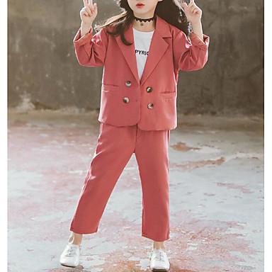 preiswerte Kapuzenpullover & Sweatshirts für Babys-Kinder Mädchen Aktiv Grundlegend Solide Langarm Standard Standard Anzug & Blazer Schwarz