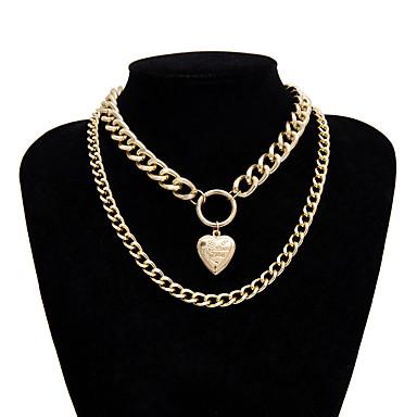 levne Pánské šperky-Pánské Dámské Stříbrná Obojkové náhrdelníky Řetízky Prohlášení Náhrdelníky Provaz Totemová řada XOXO Mušle Prohlášení Punk Moderní Rokové Chrome Stříbrná Zlatá Stříbrná 40 cm Náhrdelníky Šperky 1ks