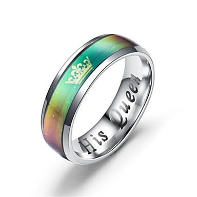 billige Ringer for Par-Par Parringer Ring 2pcs Sølv Regnbue Titanium Stål Sirkelformet Unikt design Klassisk Gave Love Smykker Hjerte Krone Kjærlighed Kul Smuk