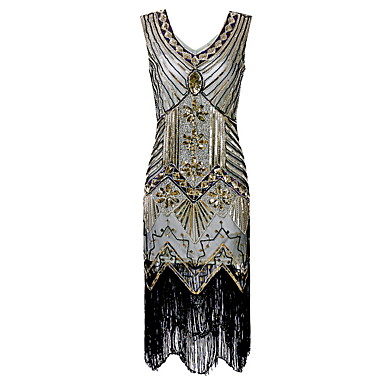 [$29.99] Diva Disco 1980s Dress Women\'s Sequins Tassel Costume Beige  Vintage Cosplay Prom Sleeveless Knee Length Sheath / Column Plus Size