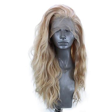 halpa Synteettiset peruukit verkolla-Synteettiset pitsireunan peruukit Laineita Sivuosa Lace Front Peruukki Vaaleahiuksisuus Pitkä Vaalea kulta Synteettiset hiukset 18-24 inch Naisten Säädettävä Heat Resistant Party Vaaleahiuksisuus