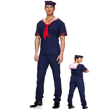 [$26 99] Sailor / Navy Cosplay Costume Party Costume Men's Naval Uniforms  Halloween Festival / Holiday Cotton Blue Carnival Costumes Print