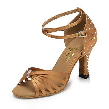 Γυναικεία Παπούτσια Χορού Σατέν Παπούτσια χορού λάτιν Κουμπί / Κρύσταλλο / Στρας Τακούνια Κουβανικό Τακούνι Εξατομικευμένο Καφέ / Επίδοση