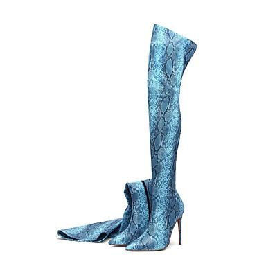 billige Toppsalg-Dame Støvler Over-The-Knee Boots Stiletthæl Spisstå Dyremønster Mikrofiber Lårhøye støvler Klassisk Høst vinter Lyseblå / Lilla / Grønn / Fest / aften