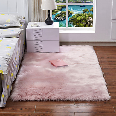 preiswerte Teppiche-Dongguan pho_07mg (Super-Volumen-Produkt) Nachahmung Schaffell Sofa Teppich Bodenkissen Kissen Erker Wohnzimmer Schlafzimmer lange Decke 30x30cm_ weiß