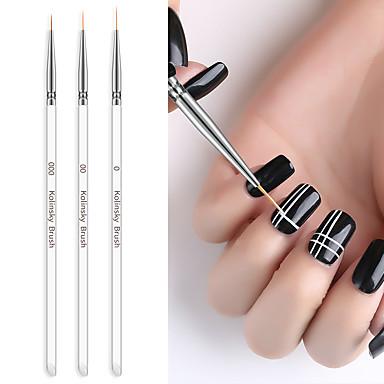voordelige Nagelgereedschap & Apparatuur-3 stks nagelborstel staaf pull pen geschilderd pen kolom gel tekening schilderen acryl nagel pen voor manicure tool kit