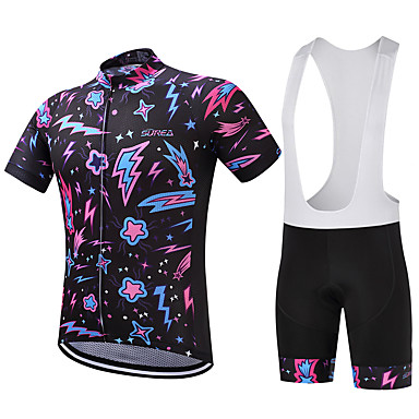 Fastcute Ανδρικά Κοντομάνικο Αθλητική φανέλα και σορτς ποδηλασίας Λευκό Stea Ποδήλατο Ρούχα σύνολα Αναπνέει Ύγρανση Γρήγορο Στέγνωμα Ανατομικός Σχεδιασμός Αθλητισμός Stea / Ελαστικό