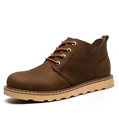 Ανδρικά Μπότες Μάχης Δερμάτινο Ανοιξη καλοκαίρι Βίντατζ / Βρετανικό Μπότες Περπάτημα Αναπνέει Μπότες ως το Γόνατο Μαύρο / Καφέ / Χακί / Γραφείο & Καριέρα
