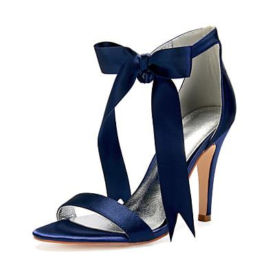 Γυναικεία Γαμήλια παπούτσια Τακούνι Στιλέτο Στρογγυλή Μύτη Φιόγκος / Κορδέλα Σατέν Γλυκός / Βρετανικό Άνοιξη / Ανοιξη καλοκαίρι Μπορντώ / Ανοικτό Καφέ / Κρύσταλλο / Γάμου / Πάρτι & Βραδινή Έξοδος