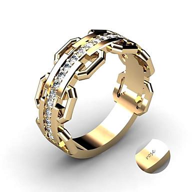 personlig tilpasset Klar Kubisk Zirkonium Ring Klassisk Gave Love Festival Geometrisk Form 1pcs Gull Sølv