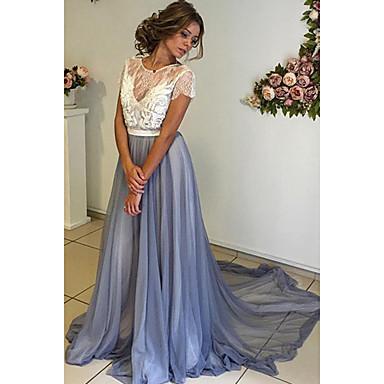 Linha A Decorado com Bijuteria Cauda Corte Chiffon Elegante Evento Formal Vestido 2020 com Apliques
