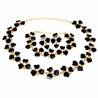Γυναικεία Ρητίνη Βραχιόλια με Αλυσίδα & Κούμπωμα Νυφικό κόσμημα σετ Γεωμετρική Ευτυχισμένος Στυλάτο Επιχρυσωμένο Σκουλαρίκια Κοσμήματα Μαύρο / Ουράνιο Τόξο Για Πάρτι Καθημερινά 1set