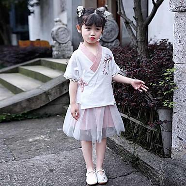 Παιδικά Ρούχα Χορού Χανφού Κοριτσίστικα Επίδοση POLY Κέντημα Μισό μανίκι Φυσικό Φούστες / Κορυφή