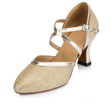 preiswerte Tanzschuhe-Damen Tanzschuhe PU Schuhe für modern Dance Schnalle Absätze Starke Ferse Maßfertigung Gold / Khaki / Silber