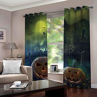 Venda quente hallowmas tema impressão digital 3d cortina da janela de luxo quarto sala de estar blackout 100% poliéster cortina de tecido para decoração de casa