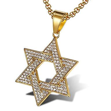 Ανδρικά Cubic Zirconia Κρεμαστά Κολιέ Κλασσικό Stea Μοντέρνα Ζιρκονίτης Τιτάνιο Ατσάλι Χρυσό Λευκό 56 cm Κολιέ Κοσμήματα 1pc Για Δώρο Καθημερινά