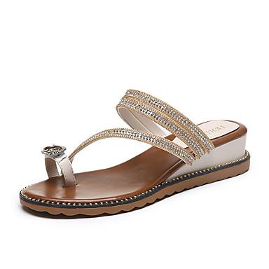 voordelige Damessandalen-Dames Sandalen Comfort schoenen Sleehak PU Zomer Zwart / Blauw / Amandel