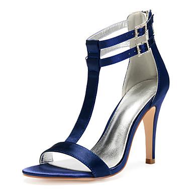 Dame bryllup sko Stiletthæl Rund Tå Sløyfe Sateng Søt / Britisk Vår sommer Burgunder / Lysebrun / Krystall / Bryllup / Fest / aften