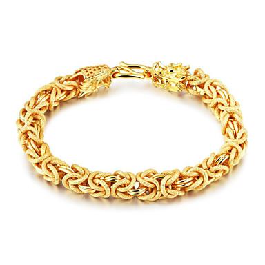 levne Pánské šperky-Pánské Řetězové & Ploché Náramky Šťastný Módní Pozlacené Náramek šperky Zlatá Pro Dar Denní