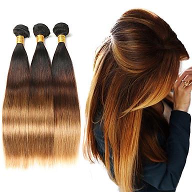 povoljno Ekstenzije ombre-3 paketa Brazilska kosa Ravan kroj Ljudska kosa Ombre 10-26 inch Ombre Isprepliće ljudske kose Proširenja ljudske kose / 8A