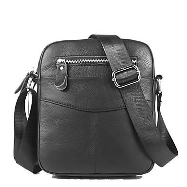 preiswerte Taschen für Herren-(Bullcaptain) Herren Reißverschluss Nappaleder / Rindsleder Umhängetasche einfarbig schwarz / Kaffee / Herbst&Winter
