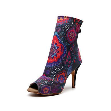 cheap Dance Boots-Women's Dance Shoes Synthetics Dance Boots Splicing Heel Slim High Heel Customizable Rainbow / Performance / Practice